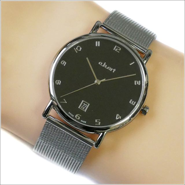 エービーアート a.b.art 腕時計 SERIES KLD KLD-108 ブラック文字盤 38mm シルバー メッシュメタルベルト クォーツ