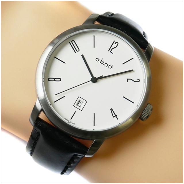 エービーアート a.b.art 腕時計 SERIES MA MA-101 ホワイト文字盤 44mm ブラック カーフレザーベルト 機械式自動巻