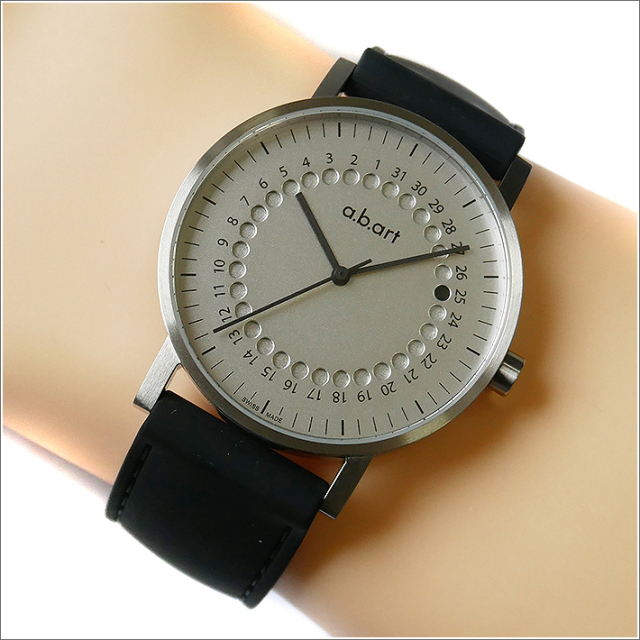 エービーアート a.b.art 腕時計 SERIES O O-101 シルバー文字盤 41mm ブラック ラバーベルト クォーツ