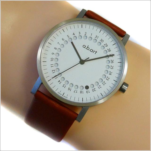 エービーアート a.b.art 腕時計 SERIES O O-101(W) ホワイト文字盤 41mm ブラウン カーフレザーベルト クォーツ