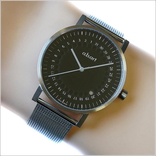 エービーアート a.b.art 腕時計 SERIES O O-102 ブラック文字盤 41mm シルバー メッシュメタルベルト クォーツ