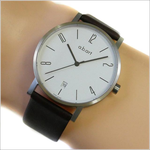 エービーアート a.b.art 腕時計 SERIES O O-110 ホワイト文字盤 41mm ブラウン カーフレザーベルト クォーツ