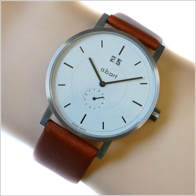 エービーアート a.b.art 腕時計 SERIES O O-601 ホワイト文字盤 41mm ブラウン カーフレザーベルト クォーツ