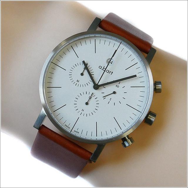 エービーアート a.b.art 腕時計 SERIES OC OC-101BR ホワイト文字盤 41mm ブラウン カーフレザーベルト クォーツ