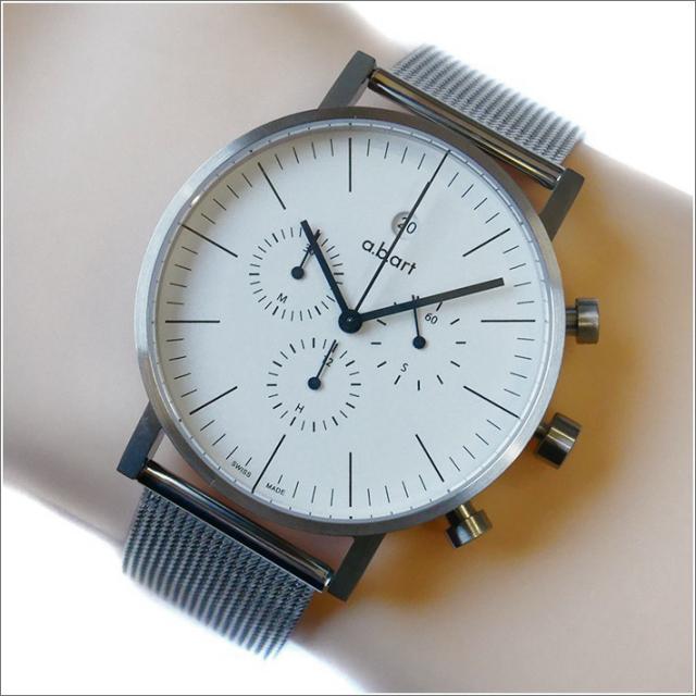 エービーアート a.b.art 腕時計 SERIES OC OC-101 ホワイト文字盤 41mm シルバー メッシュメタルベルト クォーツ