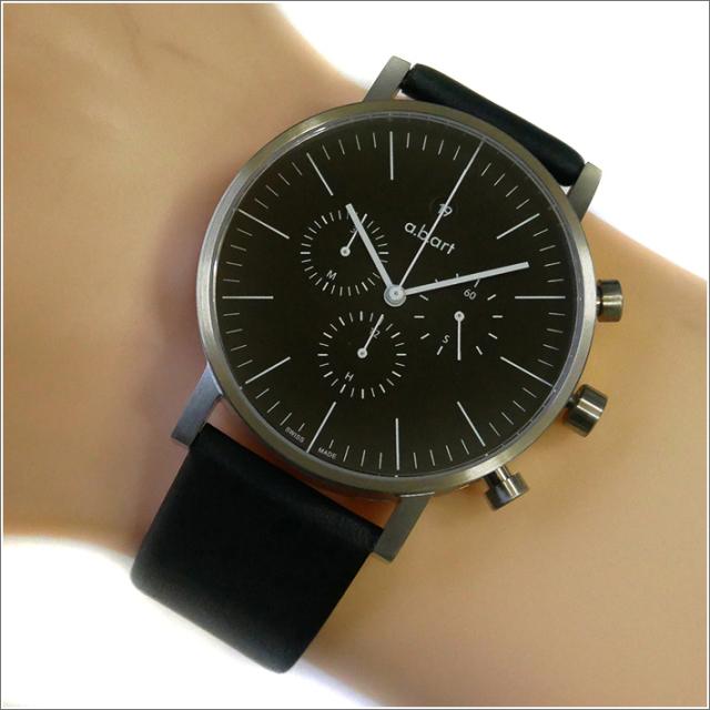 エービーアート a.b.art 腕時計 SERIES OC OC-103 ブラック文字盤 41mm ブラック カーフレザーベルト クォーツ