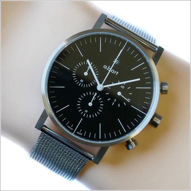 エービーアート a.b.art 腕時計 SERIES OC OC-103 ブラック文字盤 41mm シルバー メッシュメタルベルト クォーツ
