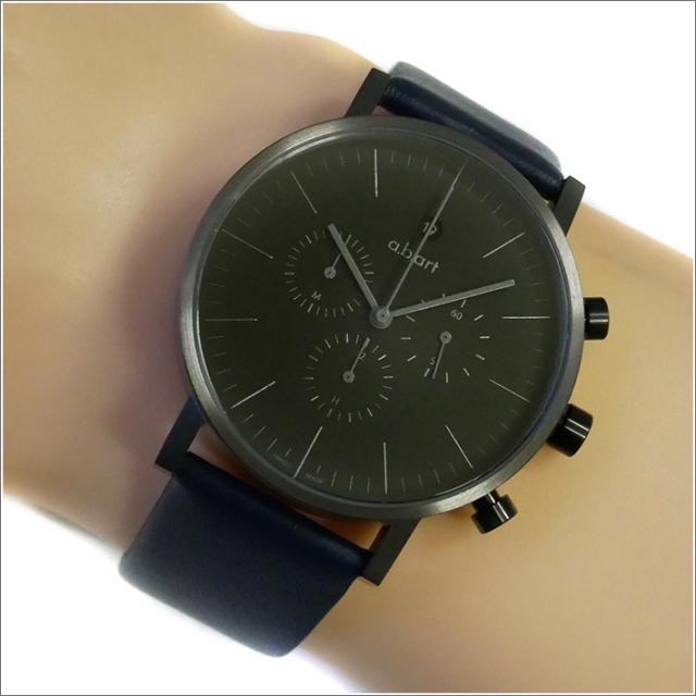 エービーアート a.b.art 腕時計 SERIES OC OC-202BL ブラック文字盤 41mm ネイビーブルー レザーベルト クォーツ