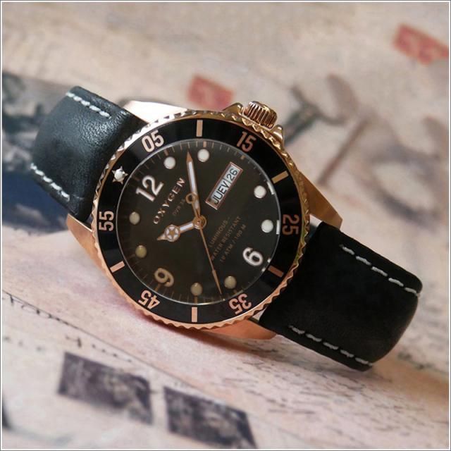 オキシゲン OXYGEN 腕時計 EX-GD-MIN-36-BL (224933) レザーベルト アウトレット品