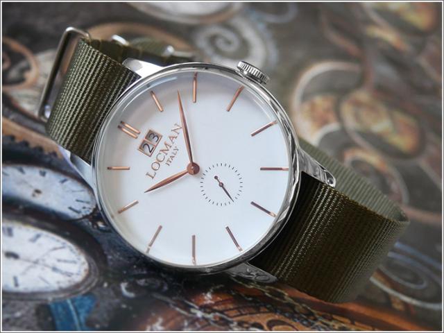 ロックマン LOCMAN 腕時計 0252V08-00WHRGNG 1960 DATE テキスタイルベルト