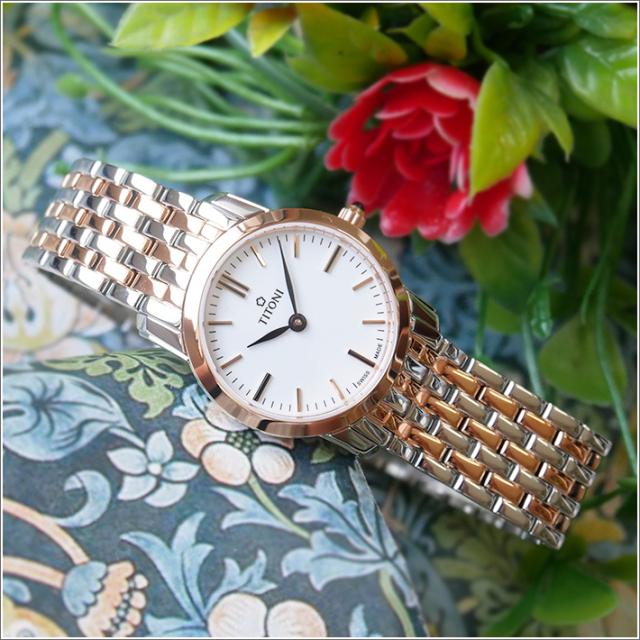 チトーニ TITONI 腕時計 TQ 42918 SRG-583 スレンダーライン SLENDER LINE レディース クォーツ メタルベルト