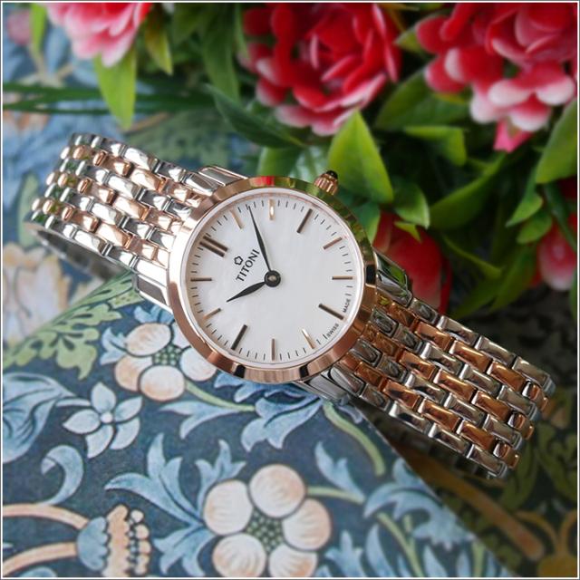 チトーニ TITONI 腕時計 TQ 42918 SRG-587 スレンダーライン SLENDER LINE レディース クォーツ メタルベルト