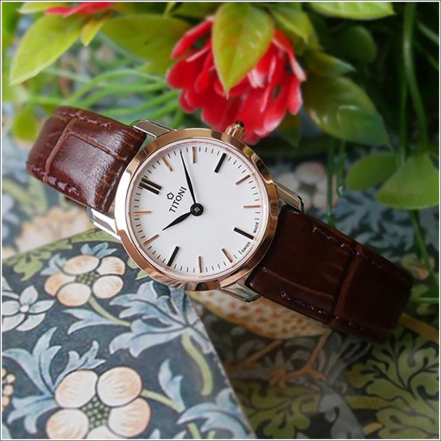 チトーニ TITONI 腕時計 TQ 42918 SRG-ST-583 スレンダーライン SLENDER LINE レディース クォーツ レザーベルト