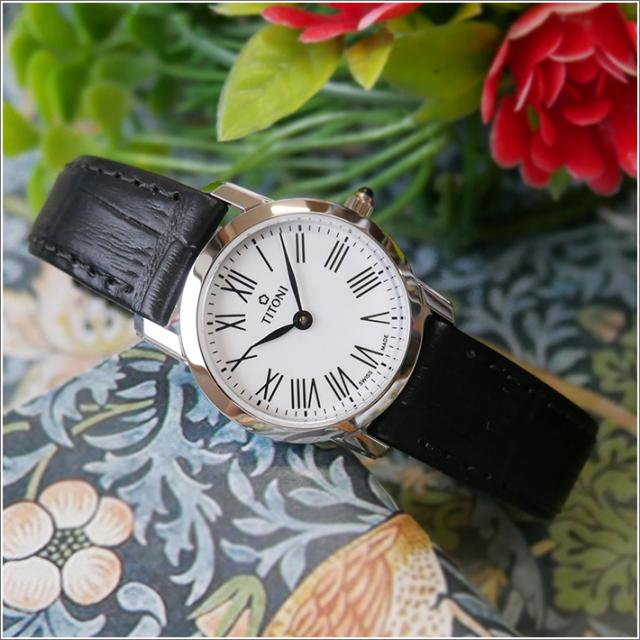 チトーニ TITONI 腕時計 TQ 42918 S-ST-584 スレンダーライン SLENDER LINE レディース クォーツ レザーベルト