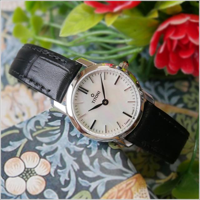 チトーニ TITONI 腕時計 TQ 42918 S-ST-587 スレンダーライン SLENDER LINE レディース クォーツ レザーベルト
