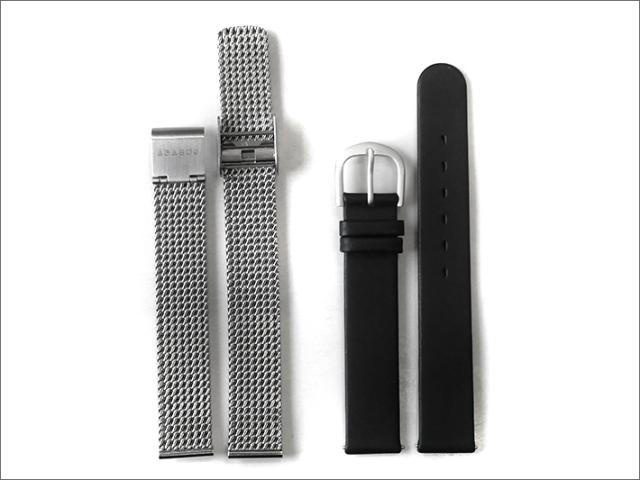 ABACUS 時計ベルト14mm幅 2本セット(メッシュメタル/黒レザー)