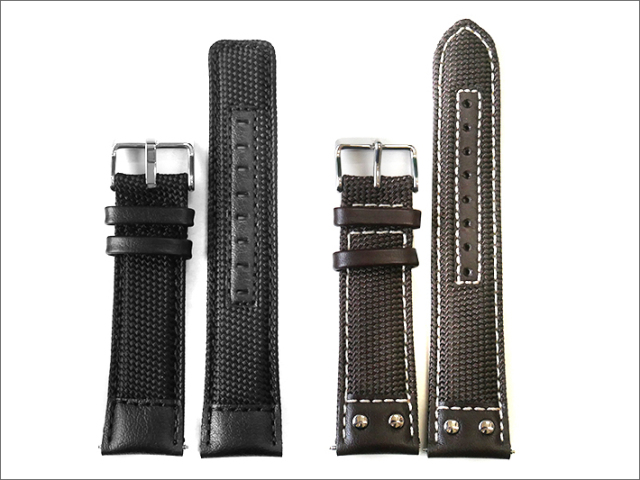 本革時計ファブリックベルト 22mm幅 黒/コゲ茶(白ステッチ) 2本セット