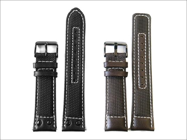 本革時計ファブリックベルト 22mm幅 黒(白ステッチ)/濃茶(白ステッチ) 2本セット