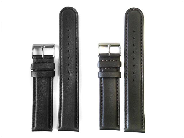 本革時計ベルト 20mm幅 黒×コゲ茶  2本セット