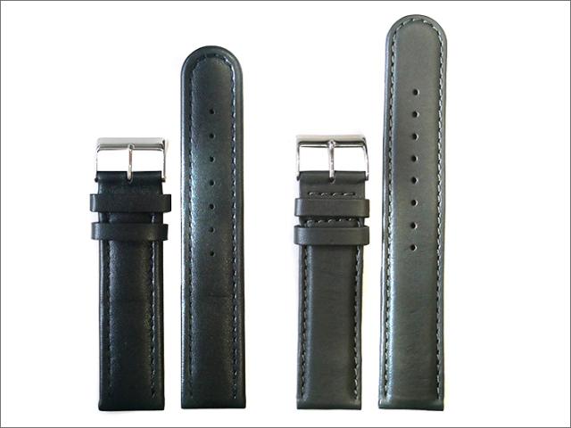 本革時計ベルト 20mm幅 黒×グレー  2本セット
