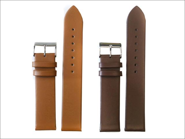 本革時計ベルト 20mm幅 2本セット(コゲ茶/ベージュ)