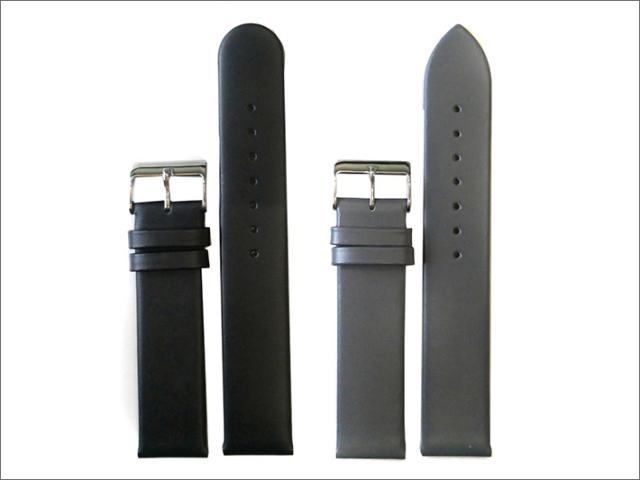 本革時計ベルト 20mm幅 2本セット(黒/グレー)