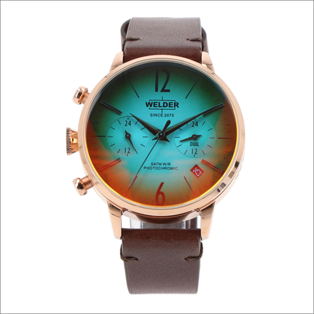 ウェルダー WELDER 腕時計 WWRC104 クォーツ 38mm レザーベルト 日付・デュアルタイム表示