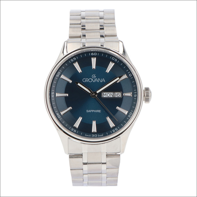 グロバナ GROVANA 腕時計 1194.1135 42mm クォーツ カレンダー メタルベルト