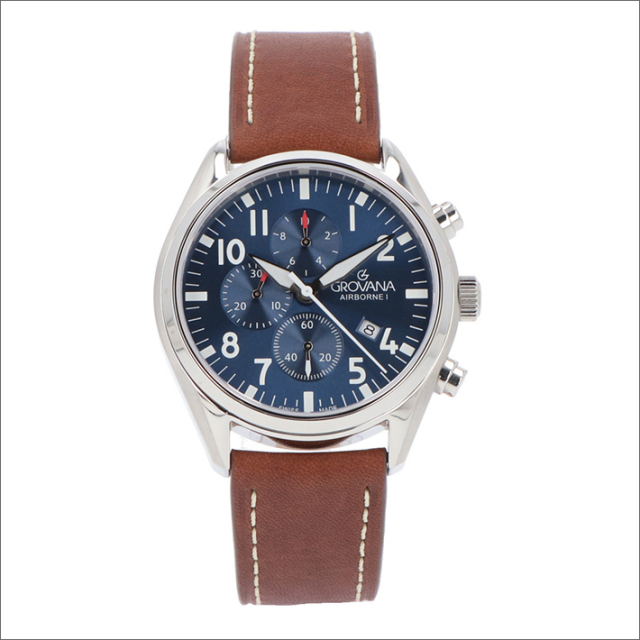 グロバナ GROVANA 腕時計 1654.9535 43mm クォーツ カレンダー クロノグラフ レザーベルト
