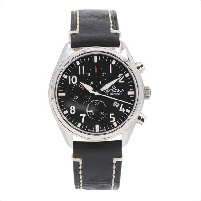 グロバナ GROVANA 腕時計 1654.9537 43mm クォーツ カレンダー クロノグラフ レザーベルト