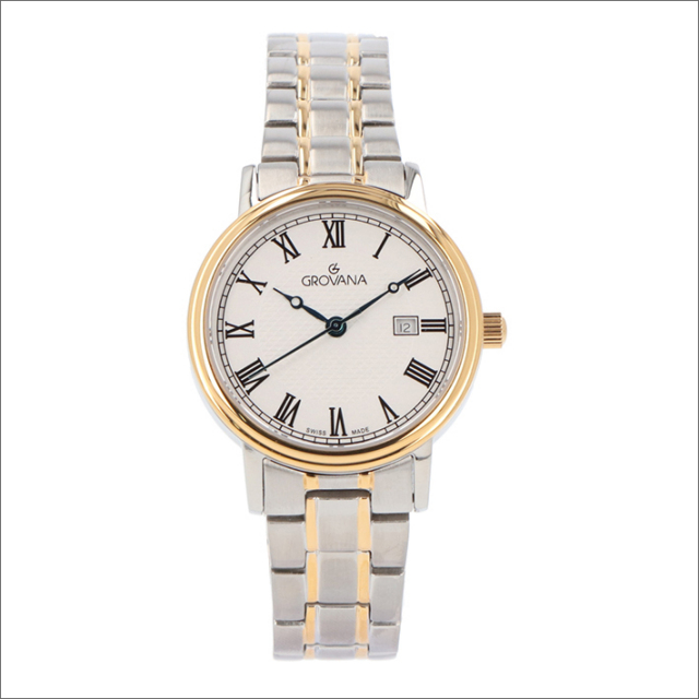 グロバナ GROVANA 腕時計 5550.1148 32mm クォーツ カレンダー メタルベルト