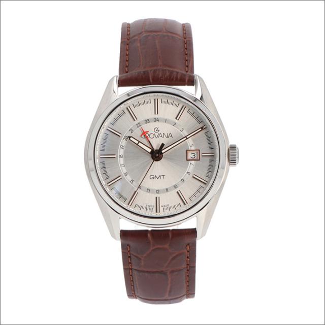 グロバナ GROVANA 腕時計 1547.1528 42mm クォーツ カレンダー GMT レザーベルト