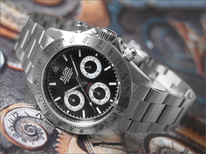 エルジン ELGIN 腕時計 クロノグラフ FK1059S-B 黒 メタルベルト