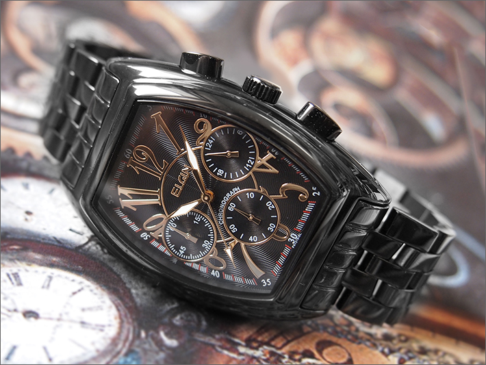 エルジン ELGIN 腕時計 クロノグラフ FK1215B-B ブラックIP メタルベルト