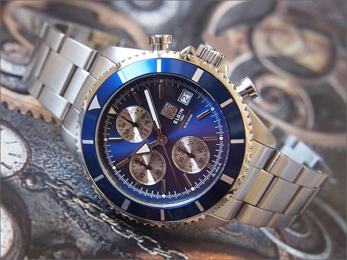 エルジン ELGIN 腕時計 クロノグラフ FK1418S-BL 青 メタルベルト