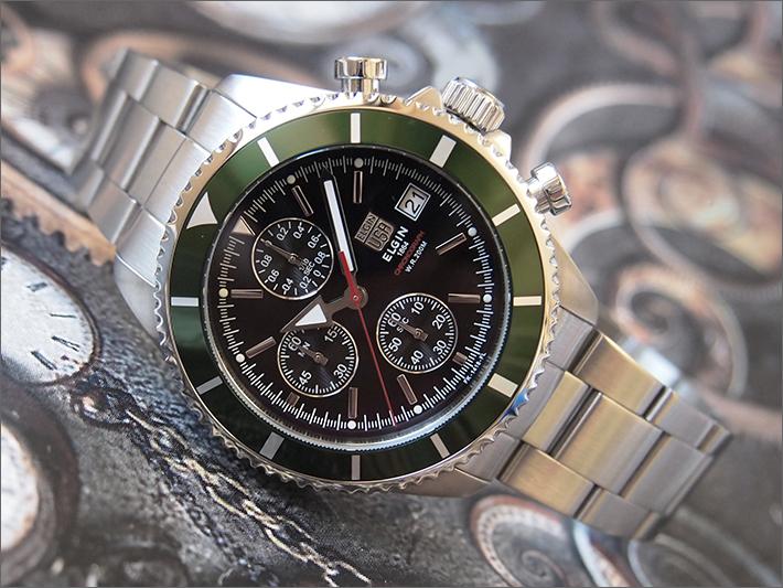 エルジン ELGIN 腕時計 クロノグラフ FK1418S-GR 緑 メタルベルト