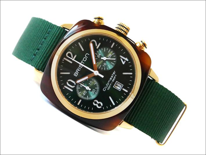 ブリストン 腕時計 510P10NH 40mm 15140.PYA.T.10.NBG クラブマスタークラシック アセテート ゴールド クォーツ クロノグラフ (ベルト長さ 245mm)