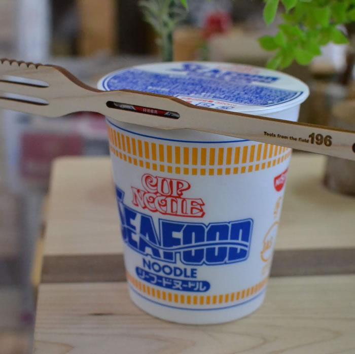 カップ麺 カップラーメン カップヌードル ストッパー 木製 ウッド フォーク フチ子 ふちこさん