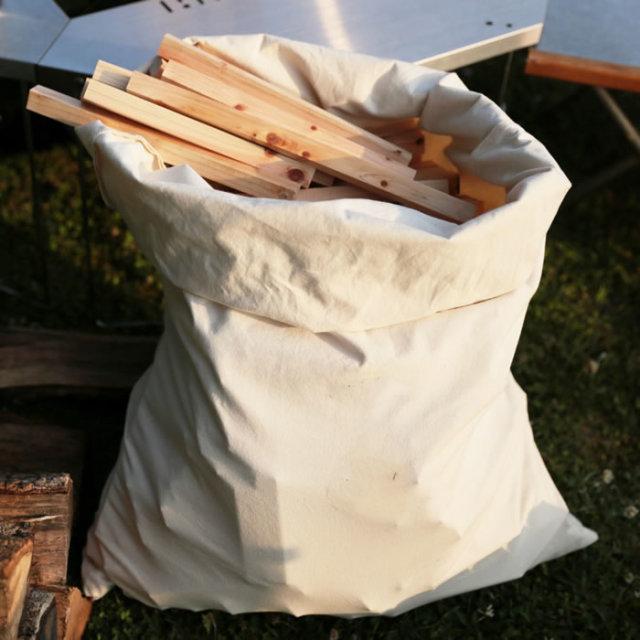 キャンプ 薪 焚き火 収納 ケース ボックス 帆布 キャンバス