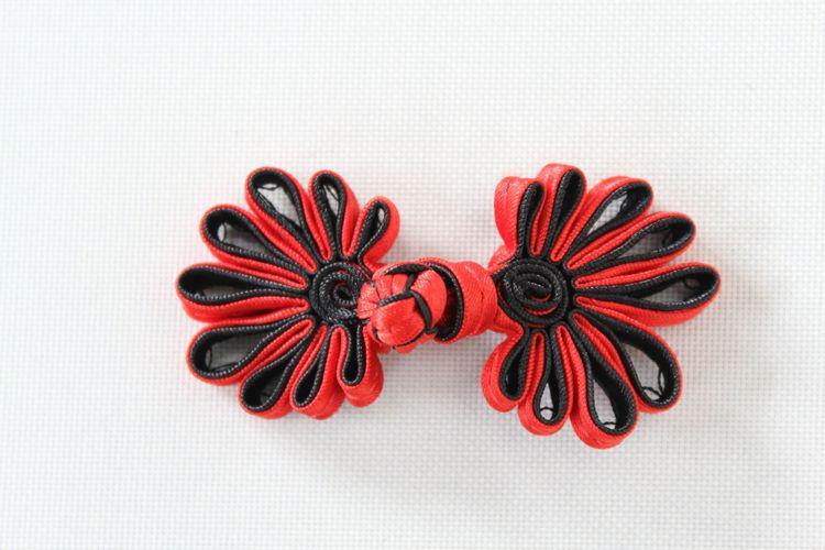 チャイナボタン菊花赤黒