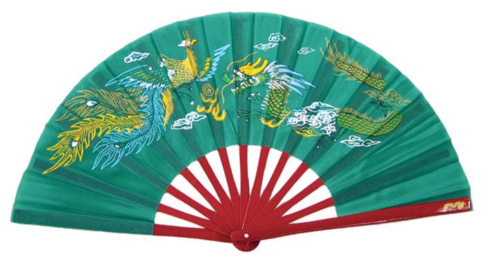 龍鳳功夫扇(緑)