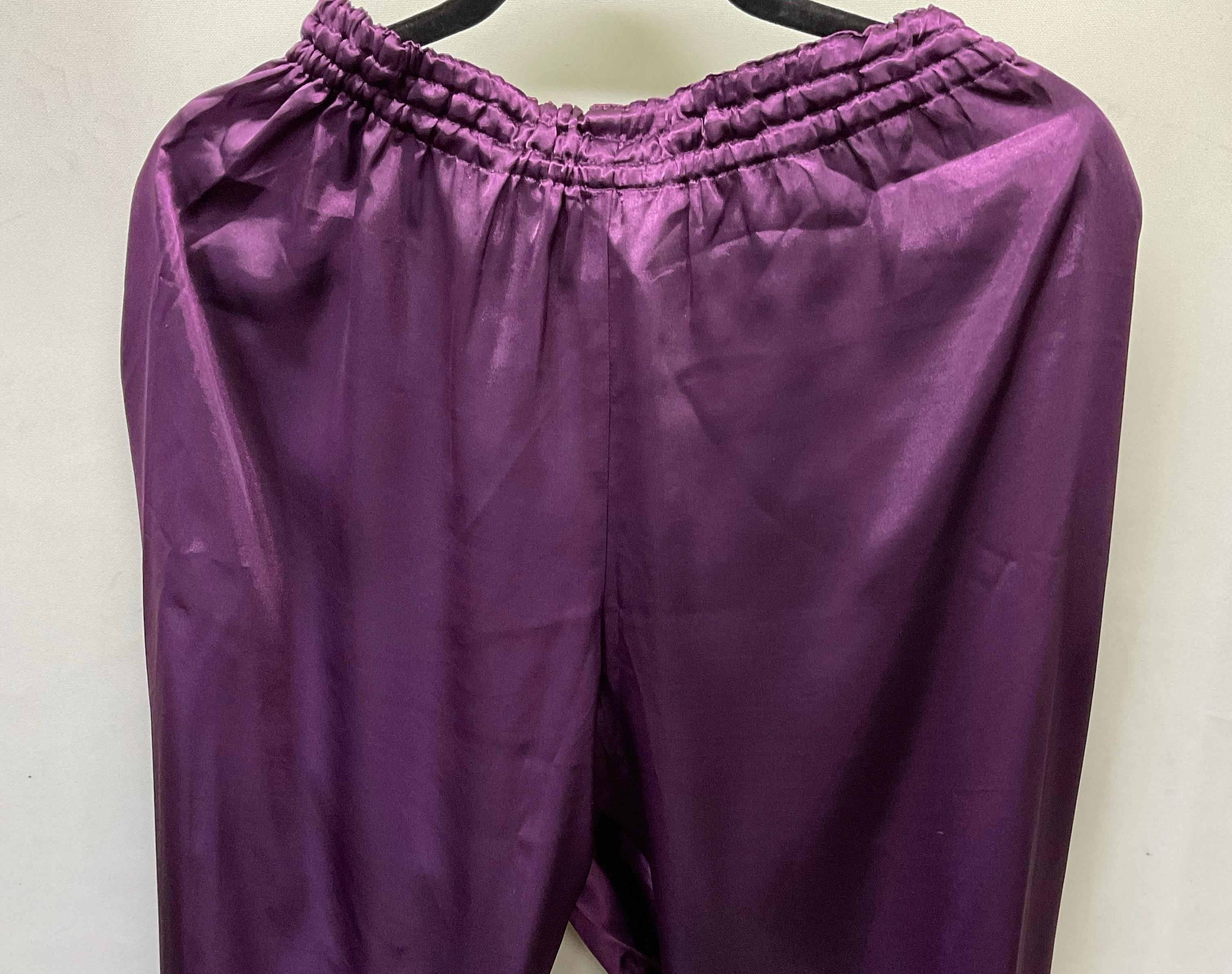 【ちょい傷特価】 サテン太極拳パンツ 濃紫