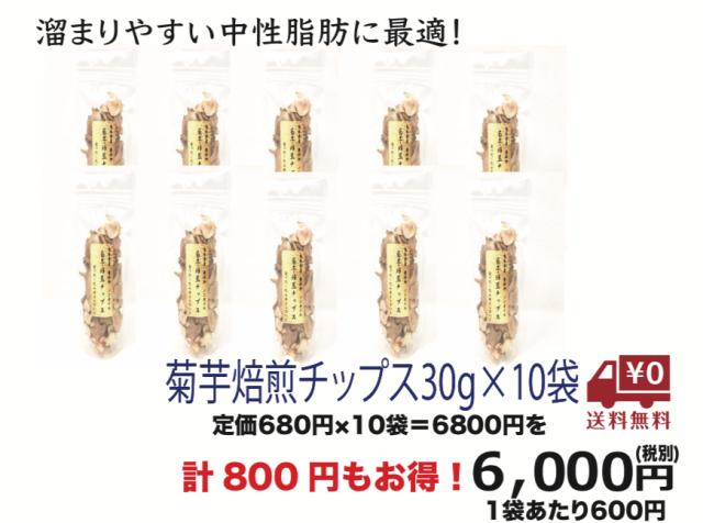 【まとめ買い特典 送料無料】菊芋焙煎チップス30g×10袋