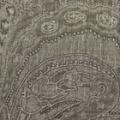 ウール混ボイルペイズリープリント服地 花柄 茶×ベージュ 【50cm単位】 (4154-38)