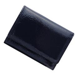 極小財布 エナメル×スムース/牛革 (ダークブルー)ベーシック型小銭入れ 日本製