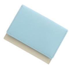 極小財布 スムース/牛革 バイカラー (ライトブルー×アイボリー)ベーシック型小銭入れ BECKER 日本製
