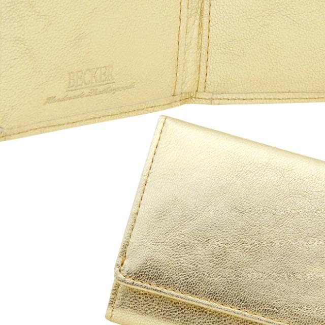 極小財布 ゴートスキン メタリックゴールド