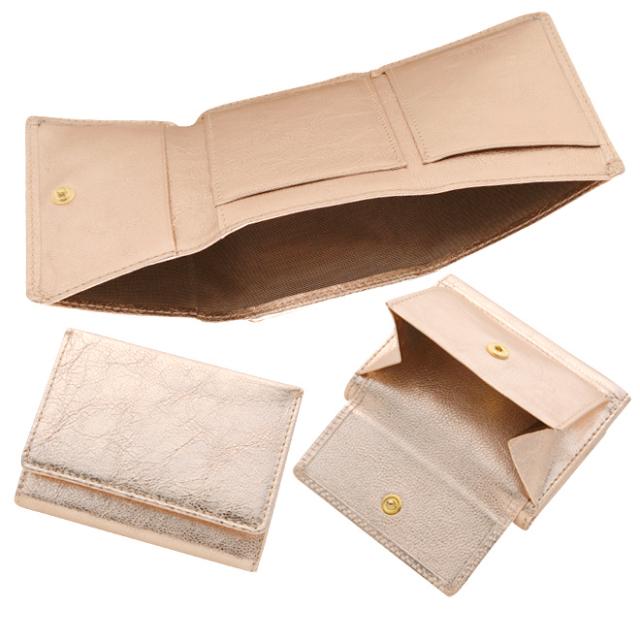 極小財布 ゴートスキン メタリックピンク ベーシック型小銭入れ BECKER(ベッカー)
