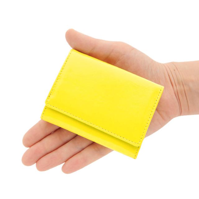極小財布 エナメル 牛革 イエロー ベーシック型 日本製