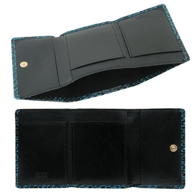 極小財布 ピッグスエード パイソン ブルー×ブラック
